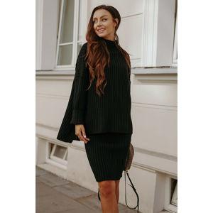 Černý světrový komplet pulovr + sukně LS308