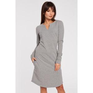 Šedé šaty BE 017