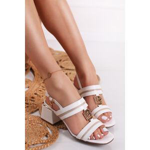 Bílé sandály na hrubém podpatku Lana