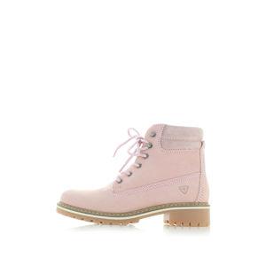 Světle růžové kožené kotníkové boty Tamaris 25242