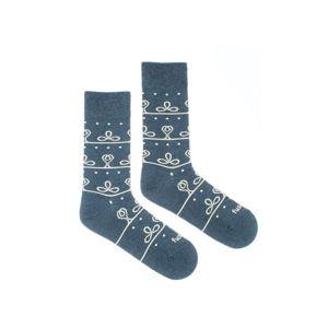 Šedo-modré vzorované ponožky Kabátec