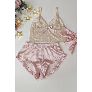 Světle růžovo-béžové krajkové pyžamo Joy set 002