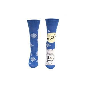 Modro-bílé vzorované ponožky Winter country