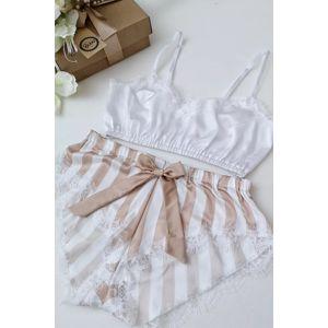 Bílo-béžové pyžamo Nude&White Set