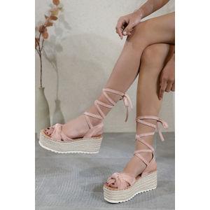 Světle růžové šněrovací platformové sandály Sonia