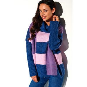 Modro-fialový pulovr LSG112
