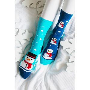 Modré ponožky Snehuliak