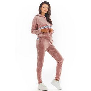 Růžové velúrové teplákové kalhoty A372