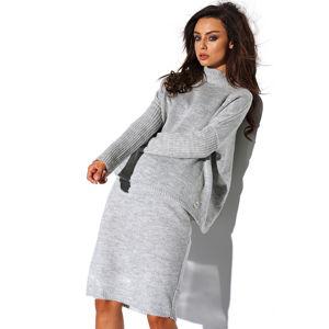 Světle šedý set pulovr + sukně LS260