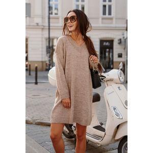 Světle hnědé světrové šaty LS301