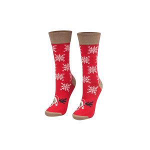 Červené vzorované ponožky Christmas reindeer