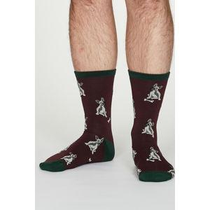 Pánské bordové vzorované ponožky Lyman Bamboo Dog Socks
