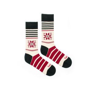 Bordově-smetanové ponožky Snowflake
