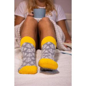 Šedo-žluté ponožky s příměsí vlny Yellow WoolySpruce