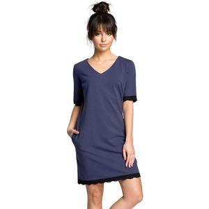 Tmavě modré šaty BE 077