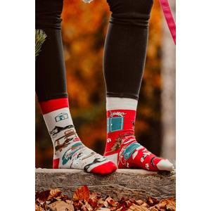 Šedo-červené ponožky Cat and Dog Life