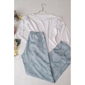 Bílo-světle modré bavlněné pyžamo Frozen white long set