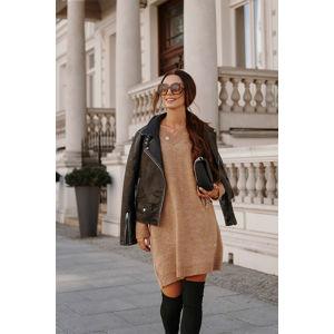 Skořicové světrové šaty LS301