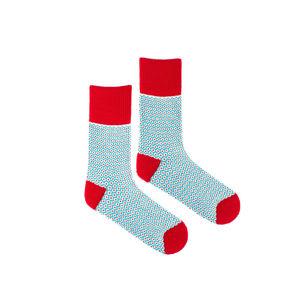 Červeno-modré ponožky s příměsí vlny WoolyFish