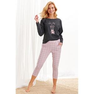 Tmavě šedo-růžové vzorované pyžamo Molly