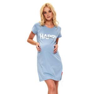 Šedo-modrá bavlněná těhotenská noční košile TCB9504