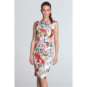 Smetanové květované šaty S117