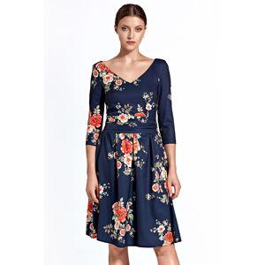 Tmavě modré květované šaty CS27