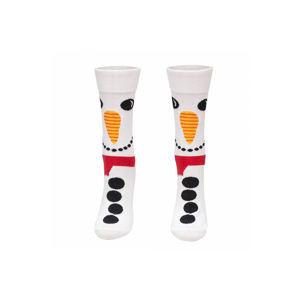Bílé vzorované ponožky Snowman