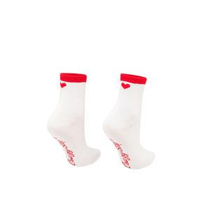 Bílé ponožky Srdíčko Malé červeno-bílé