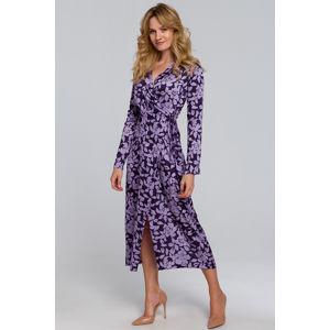 Fialové květované zavinovací šaty K083