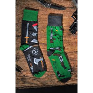 Černo-zelené ponožky Guns & Knives