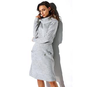 Šedé světrové šaty LS257