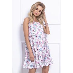 Bílo-růžové květované šaty F708