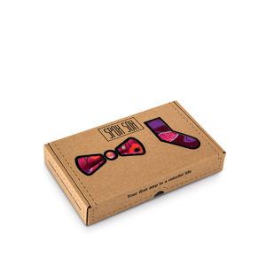 Pánský fialovo-vínový set ponožky + motýlek Matching