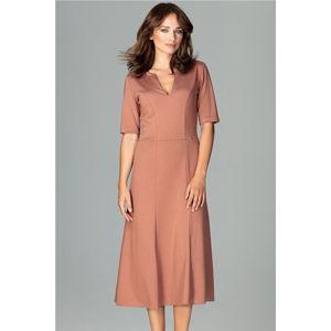 Světle hnědé šaty K478