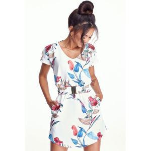 Smetanové květované šaty MQ050