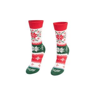 Červeno-zelené vzorované ponožky Christmas Star