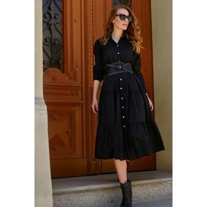 Černé košilové midi šaty L18