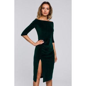 Tmavě zelené sametové šaty M559