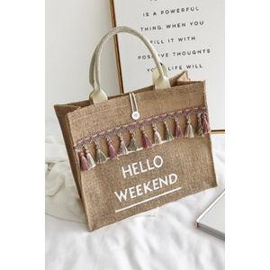 Béžová taška Hello Weekend