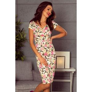 Smetanové květované šaty M63600