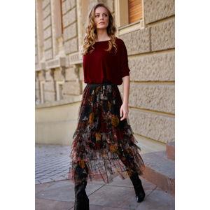 Vícebarevná květovaná maxi sukně L4