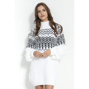 Bílo-černé vzorované svetrové šaty F856