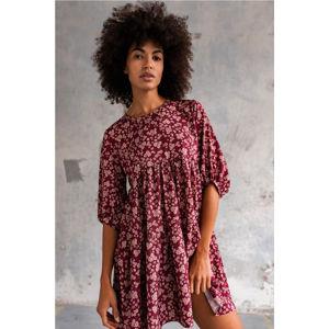 Bordové kvetované volánové šaty Blush