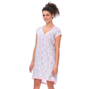 Růžovo-šedá těhotenksá noční košile TM9620