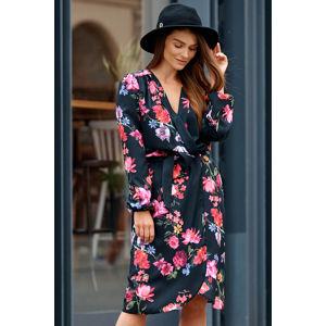 Černé květované zavinovací šaty L345D