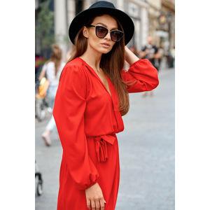 Červené zavinovací šaty L345