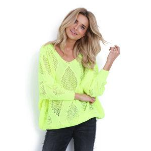 Neónově zelený pulovr F626