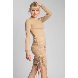 Světle hnědé midi šaty LA039