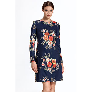 Tmavě modré květované šaty CS25